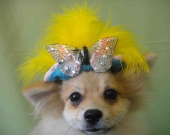 Hat for dog or cat with butterfly swarovski crystal
