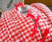 Vintage Red and White Gingham Fabric Casserole Dish Carrier - Holder