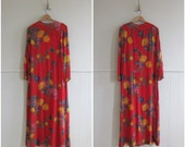 1970s vintage red floral silk chiffon maxi dress