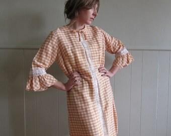 Peach cotton farmhouse dress / pastel gingham boho sheath dress