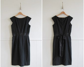 1960s vintage black wool ribbon sashed wiggle dress