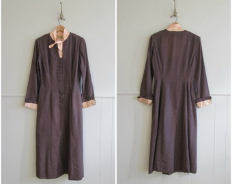 1950s vintage blush satin trimmed tuxedo wiggle dress