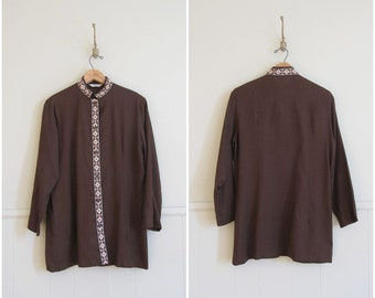 Vintage 1970s linen tunic / embroidered ethnic shirt