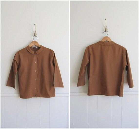 1960s vintage copper brown peter pan cotton blouse