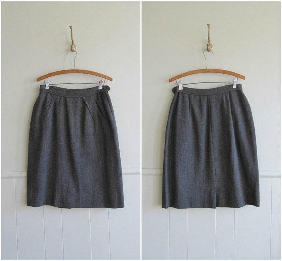 1940s vintage battleship grey wool pencil skirt