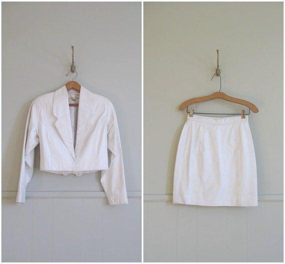 1980s vintage white leather jacket and mini skirt set