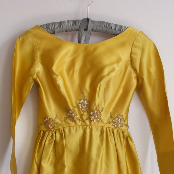 vintage 1950s GOLD SATIN and BLOSSOM BEADED party dress