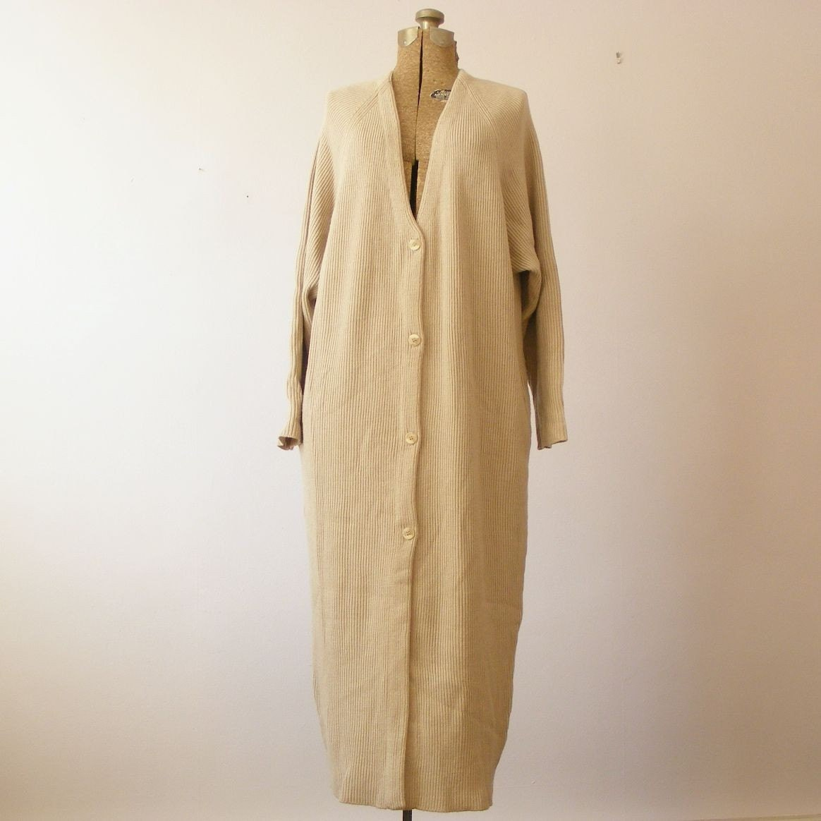 Sale Vintage Floor Length Fawn Ungaro Cardigan Dress Large