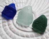 Seaglass Bottle Lips. Rare Cobalt Blue, Teal, Seafoam. Top Drilled. Lot F8