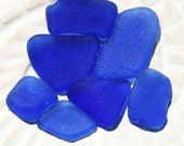 Reduced. Cobalt Blue Seaglass Lot. 7 Pieces. Undrilled. Charm and Mid Sized Pieces. Lot E10