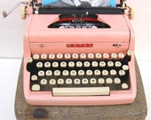 Pink 1950s Royal Typewriter with Case and Owners Instruction Booklet PROFESSIONALLY SERVICED and New Platen