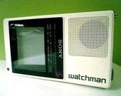 1980's Era Vintage Sony Portable Sport TV Watchman In Black White
