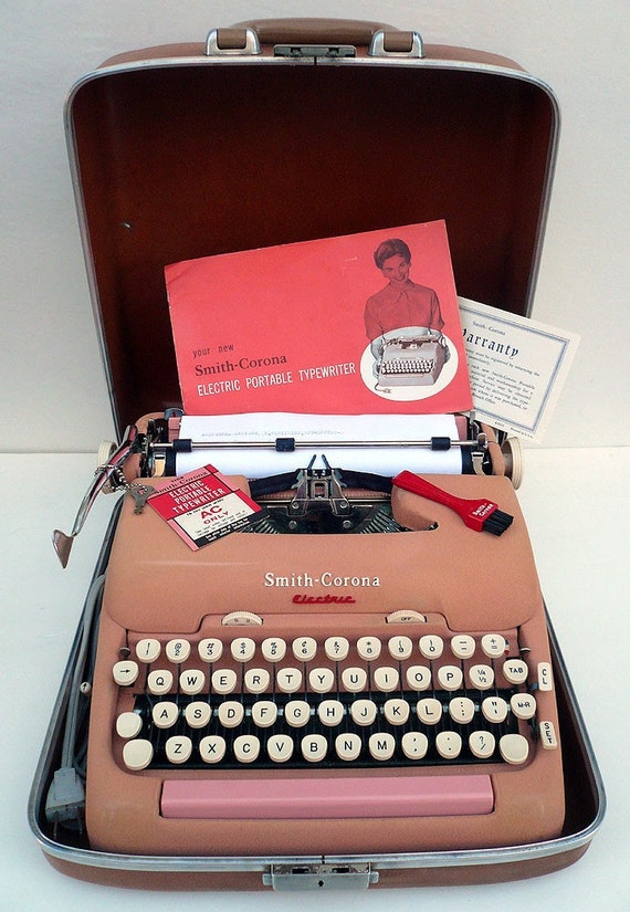 LAYAWAY-Tiffany. 1955 Pink Electric Typewriter with Case PROFESSIONALLY RESTORED