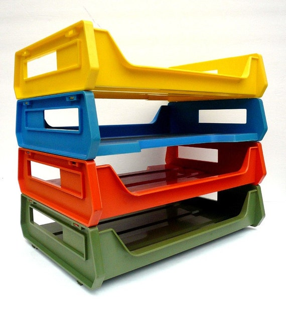 colorful mod plastic stacking 4 tier letter trays