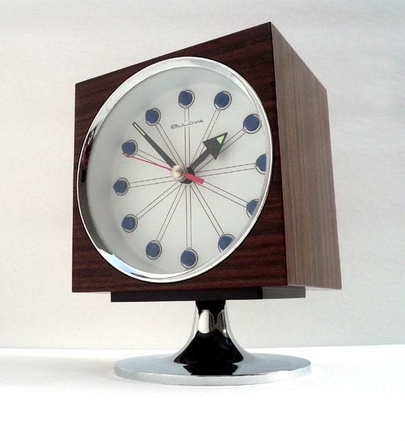 1960s Mid Century Modern Bulova Pedestal Clock MINT
