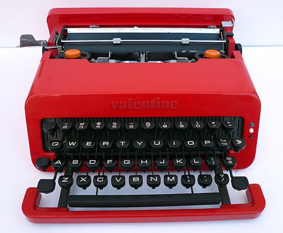 1969  Red Valentine Typewriter With Carry Case PROFESSIONALLY SERVICED