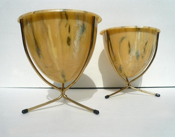 Mid Century Modern Table Top Bullet Planters