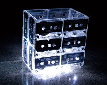 Night Light Music Cassette Tape Medium - Upcycled Recycled Ecofriendly Retro