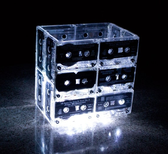 Night Light Music Cassette Tape Medium - Upcycled Recycled Ecofriendly Retro