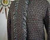 SALE 50% OFF - Vintage 1960s Tweed Mod Jacket 3/4 Sleeve Mid Century Modern Mad Men Era 60s Short Wool Coat