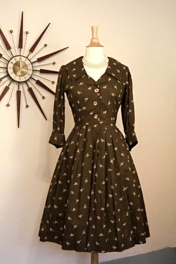Vintage 1950 S Autumn Housewife Dress Full Sweep Pintuck