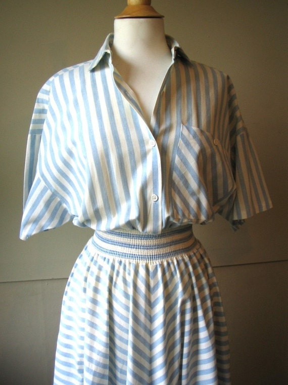 Vintage stripe cotton nautical day dress mad men meets julia child