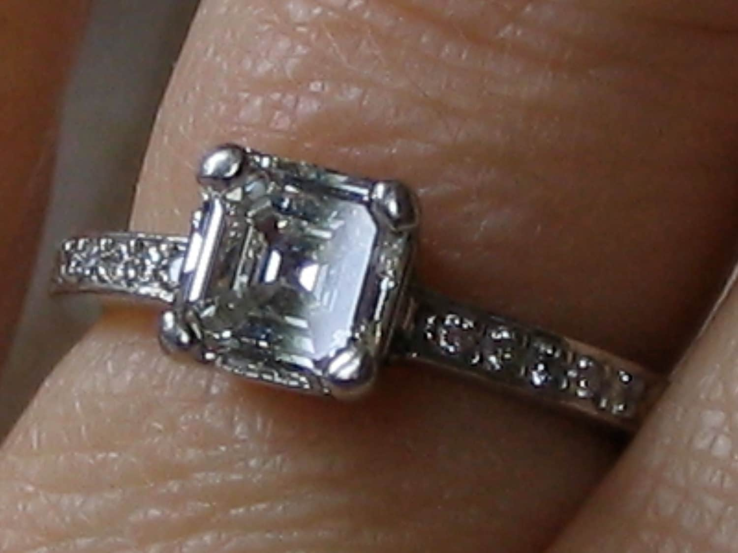 Asscher Cut Diamond Solitaire Platinum by PosiesForLuluVintage