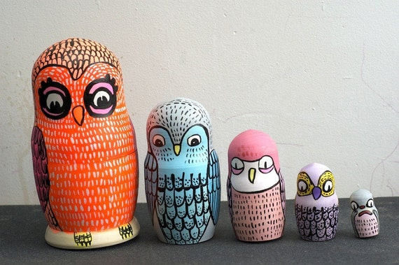 SALE owl matryoshka wooden stacking doll one of a kind