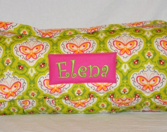 Nap Mat - Monogrammed Oops a Daisy in Green Nap Mat with Hot Pink Minky Dot Blanket