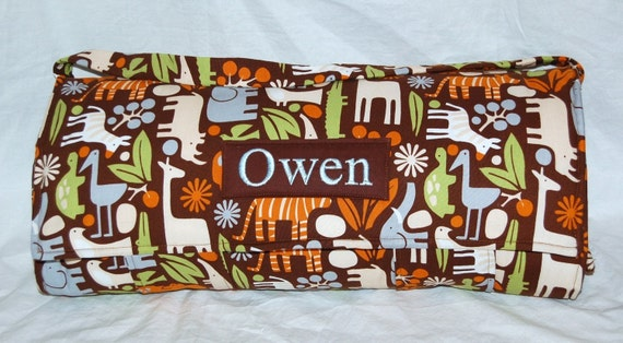 Nap Mat - Monogrammed 2D Zoo in Brown Nap Mat with Brown Double-sided Minky or Minky Dot Blanket