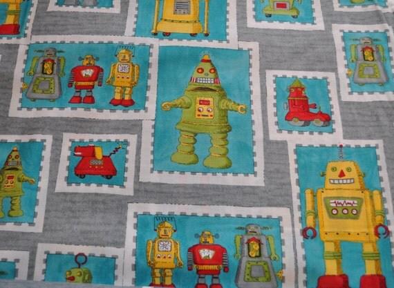 Robot Fabric - Robots in Grey by Ingrid Slyder from Moda Fabrics - Retro Robots - 1 yard