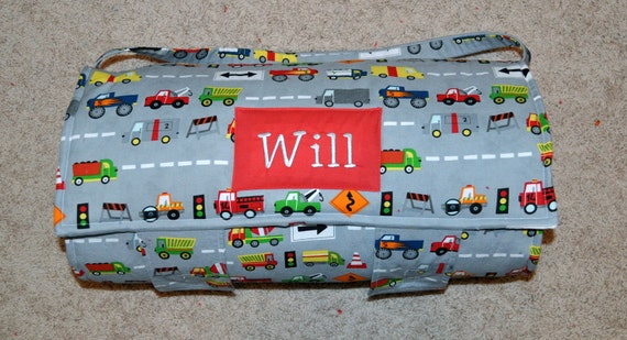 Nap Mat - Monogrammed Ten Little Things Grey Trucks Nap Mat with Red Double-sided Minky or Minky Dot Blanket