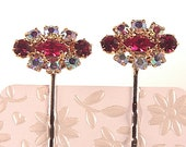 rhinestone bobby pins set pair deep ruby with siam ruby and auroral borealis