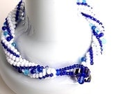 seed bead bracelet twisted herringbone pure white royal blue one of a kind