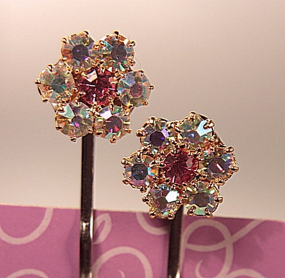 rhinestone bobby pins set posies pink centres repurposed vintage new old stock nos
