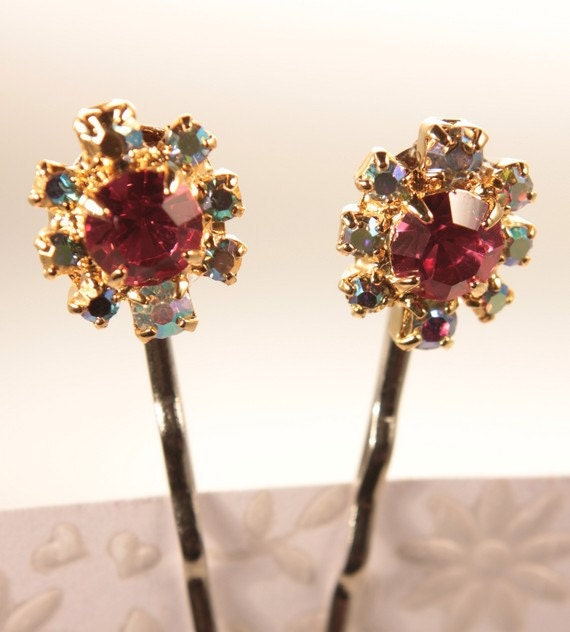 rhinestone bobby pins pair pink and aurora borealis repurposed vintage new old stock nos