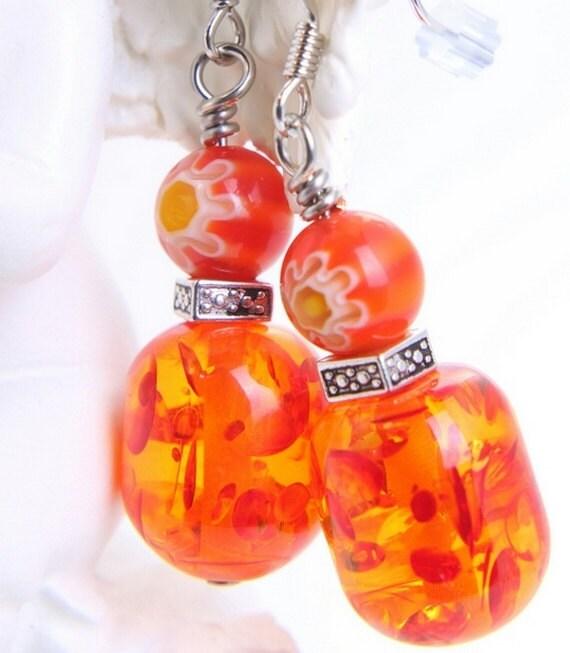 beaded earrings resin and millefiore glass nickel free spiced honey orange beads
