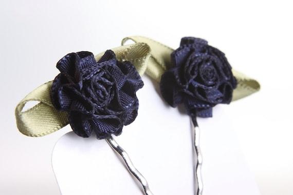 ribbon rose hair accessories bobby pins nickel free navy blue