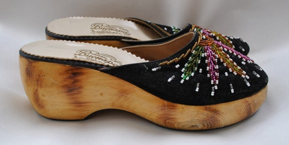 Festive Beaded Wooden Clogs From The Philippines Size 6/6.5B