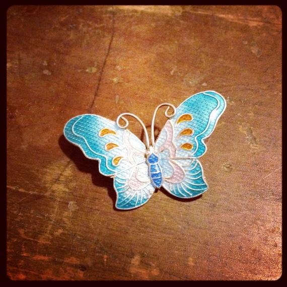 s925 enameled sterling butterfly brooch