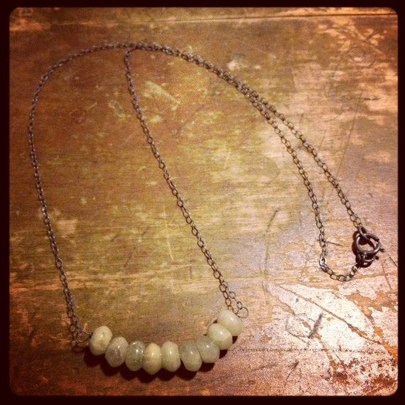 one at a time / light green agate rondelles on a wire / oxidized sterling necklace