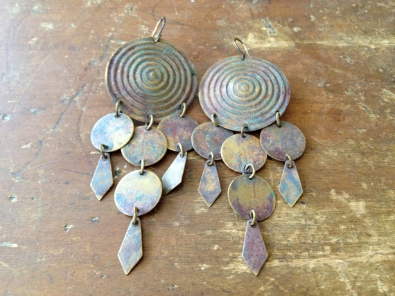 embossed circles / dangle earrings with patina
