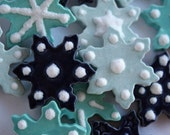 Ceramic tile snowflakes - set of 12 - for mosaic