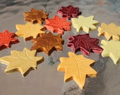 Ceramic tile leaves, fall colors, set of 12