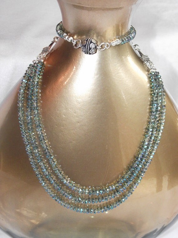 Ocean Green Crystal and Sterling Silver Multi Strand Necklace Set