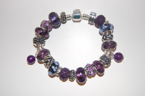 Purple European Style Beaded Bracelet