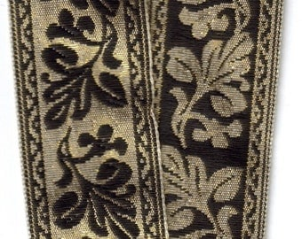 Double-sided Metallic Thread Gold and Black Trim 1 inch x 9 yds