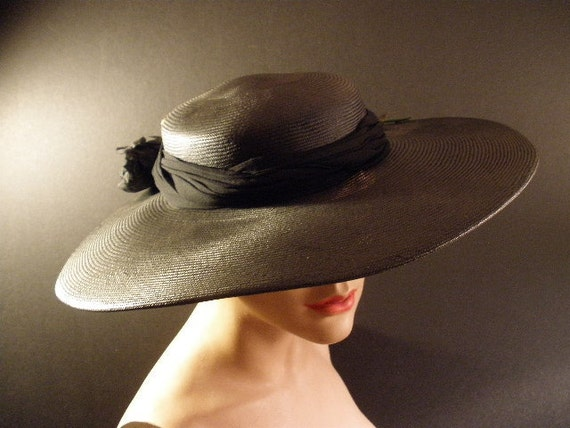 Jan Leslie wide brimed vintage black hat