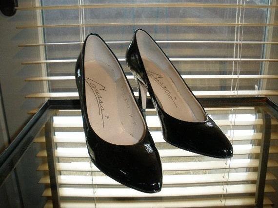 shiny black patent heels