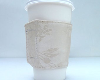 Cream Silky Floral Coffee Sleeve Cozy Velcro